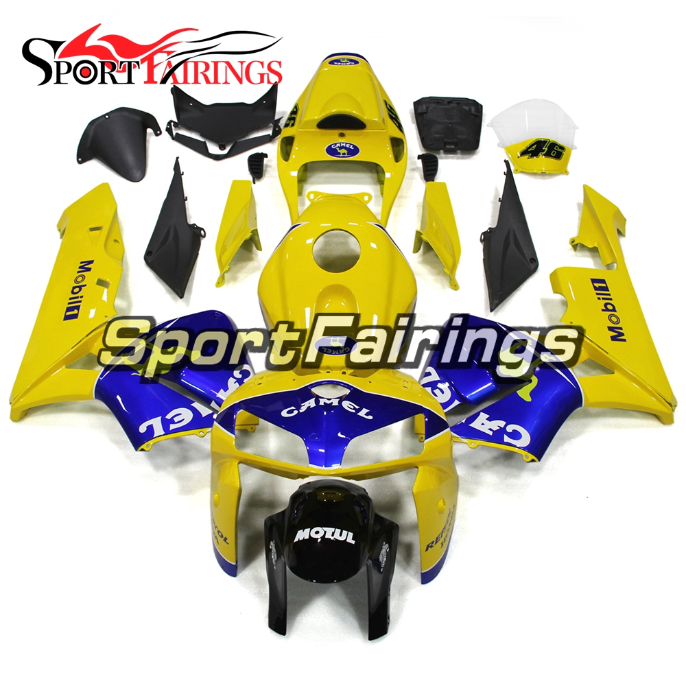 Мотоцикл Цвет желтый, синий; размеры 34–43 впрыска ABS пластмасс обтекатель Наборы для Honda CBR 600 RR CBR600RR F5 2005 2006 05 06 полный Чехлы для мангала