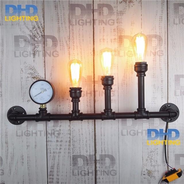 Populares 3 cabeças preto terminou tubo de ferro lâmpada de parede com  KX38