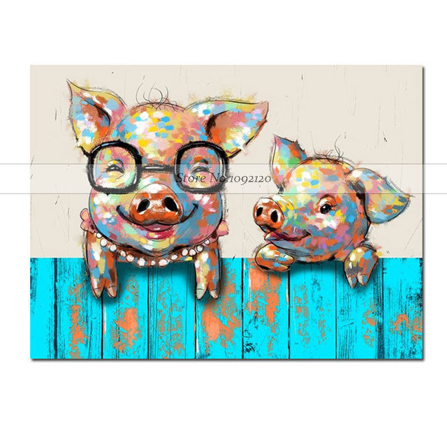 Modern Animal Oil Paintings Cute Baby Pig With Glasses Hand Painted