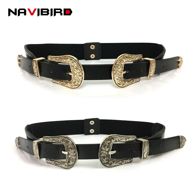 Retro Flower Carved Gold Double Buckles Belt For Women Female Elastic Waistband Faux Leather Narrow Corset Belts Cinto Feminino