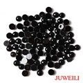JUWEILI Jewelry 50pcs Onyx Black Agate Natural Stone Hemispherical Cabochon Semi-precious Beads 5mm 6mm 8mm 10mm 12mm 14mm