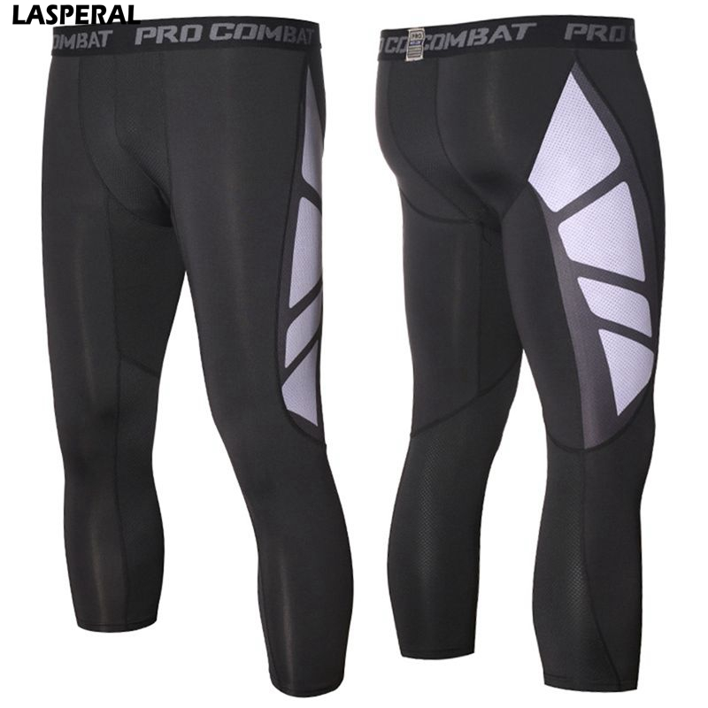LASPERAL 2017 Brand Mens Calf Length Fitness Sports Tights Compression Patchwork Leggings Quick Dry High Elastic Running Pants