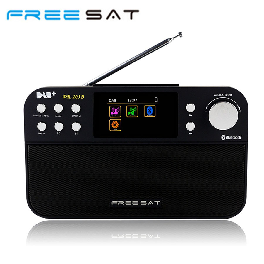Free sat DR-103B DAB Receiver Portable Digital DAB FM Stereo Radio Receptor With 2.4 Inch TFT Color Display Alarm Clock 5pcs pocket radio 9k portable dsp fm mw sw receiver emergency radio digital alarm clock automatic search radio station y4408