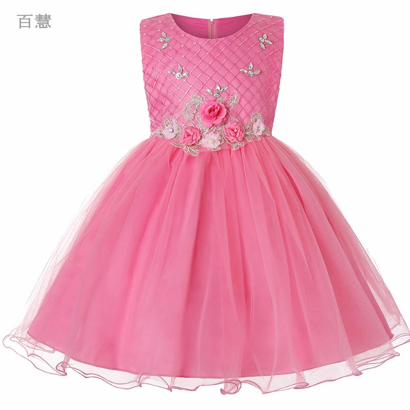 Girl Flower Dress for Children Girls baby Party Wedding Princess Dresses Party Custumes Kids clothing Summer baby clothes