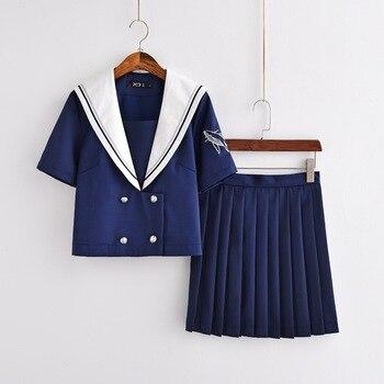 Conjunto de uniformes japoneses nuevos JK uniforme de marinero ortodoxo traje de escuela de estudiante Femenina de la Universidad traje de manga corta