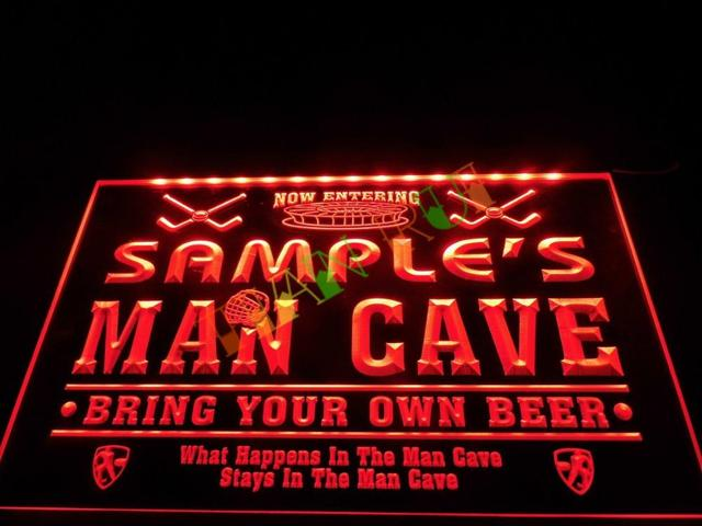 Man Cave Hockey Signs : Dz name personalized custom man cave hockey bar beer neon sign