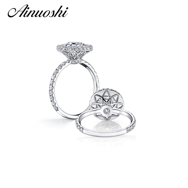 AINOUSHI 2017 New Design Big 4 Carat Round Cut Halo Ring SONA Ring
