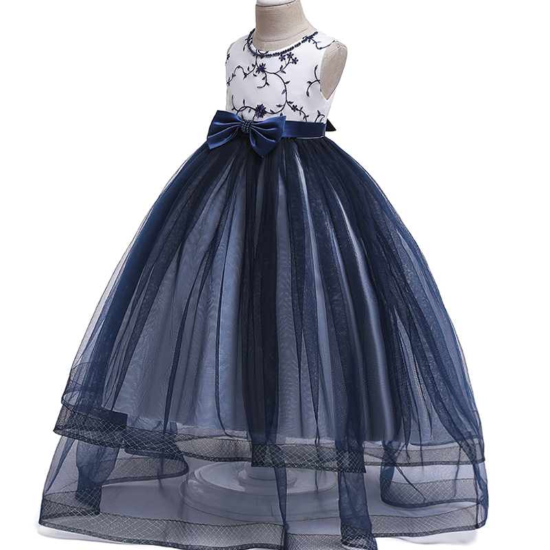 Baby Girl New Year Party Dress Fancy Embroidery Silk Princess Wedding Kids Dresses For Girls Toddler Children Christmas Dress