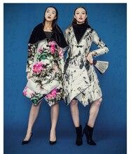 Бесплатная доставка новый 2015 китайский стиль печатного рисунка широкий пальто средней длины — вниз женский зима сгущает Большой размер пиджаки два цвета
