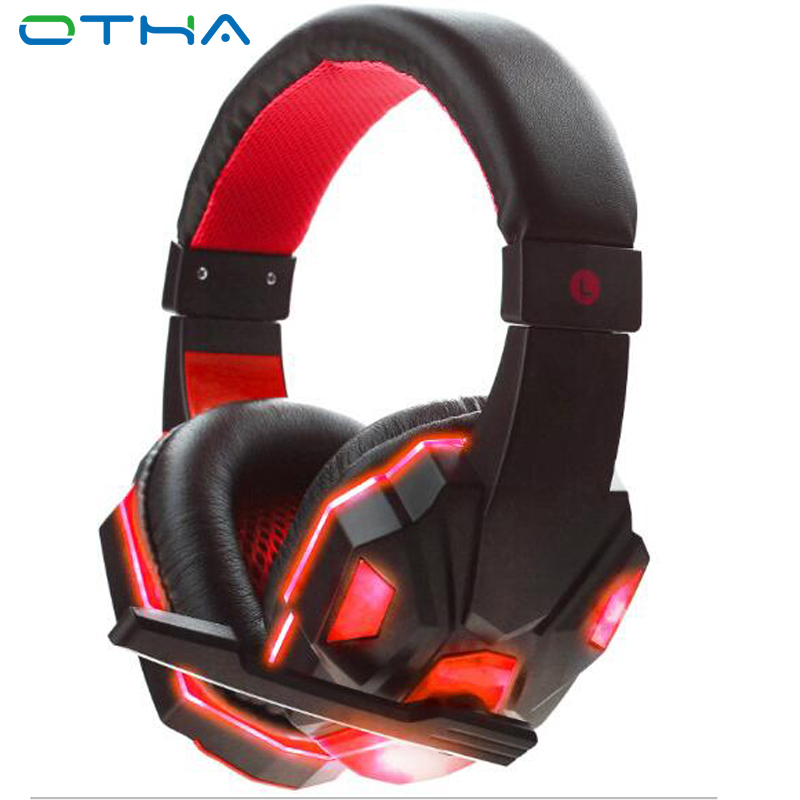 OTHA USB Wired Headphone Gaming Headset Headband with Microphone Mic Bass Stereo Game Headphone with Light for PC Gamer