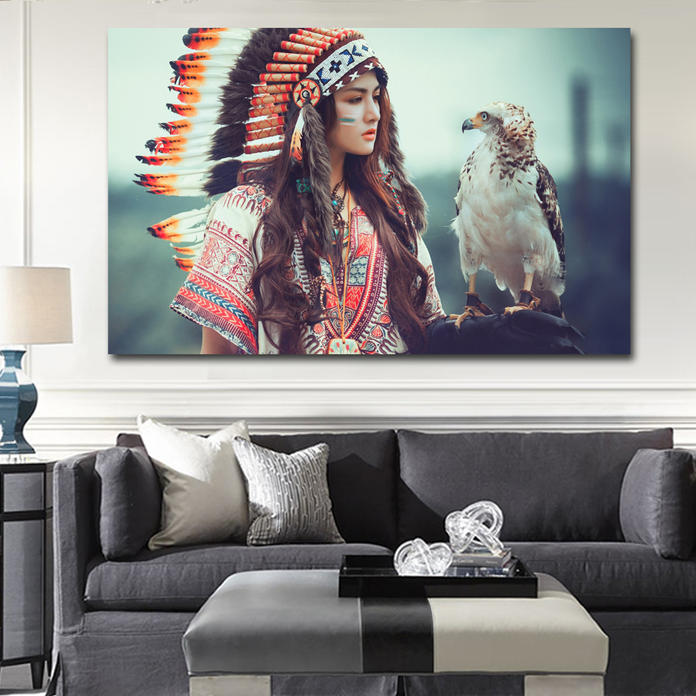 Native american girl with eagle wall art pictures canvas oil paintings printings home decor for Home decor survivor 6