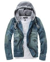 Denim jacket New 2017 Hooded jacket Men Slim coat men Casual outerwear 5XL