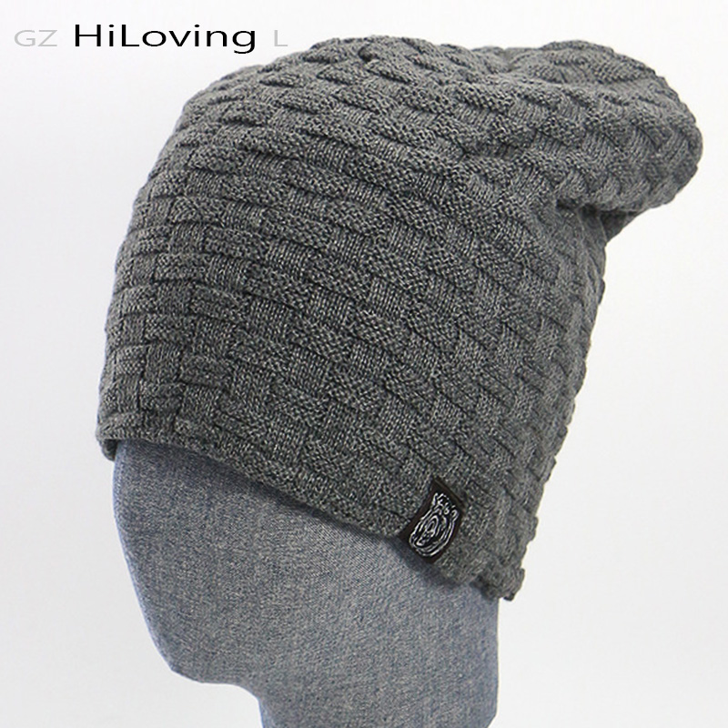 2016 Fashion European Winter Hats for men Warm Knitted Hats Thick Woolen Men Casual Winter Beanies Hats for Men