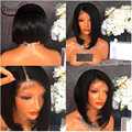 Glueless Malaysian Full Lace Human Hair Wigs Short Bob Wigs Natural Colour Side Parting Lace Front Wig Glueless Full Lace Wig