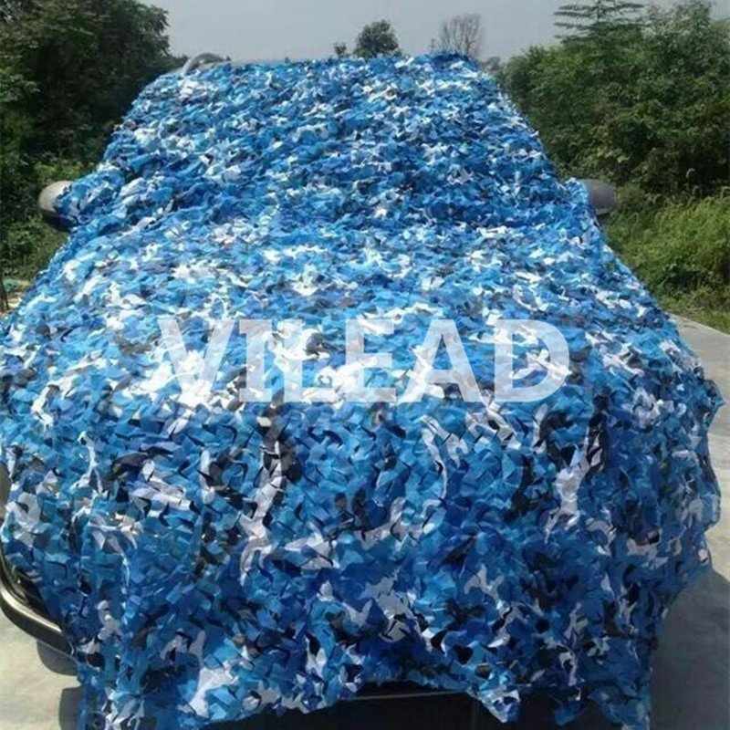 VILEAD 2M*9M Blue Filet Camouflage Netting Military Camo Netting Protection Netting Sun Shelter Outdoor Sunshade Awning Gazebo