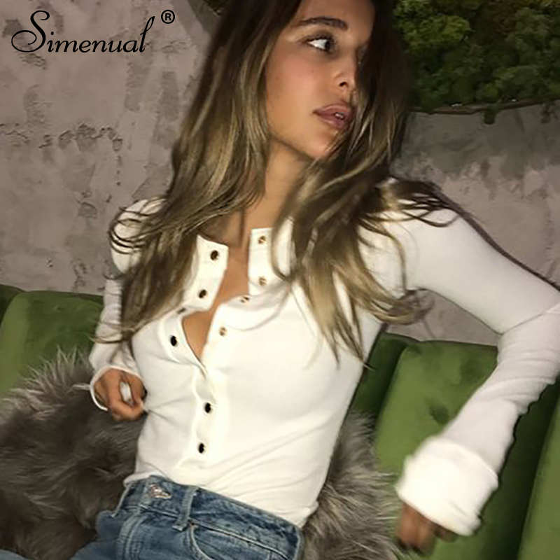 Simenual Buttons up autumn   t  -  shirts   for women tops fashion slim sexy white long sleeve female   t  -  shirt   solid basic tee   shirt   sale