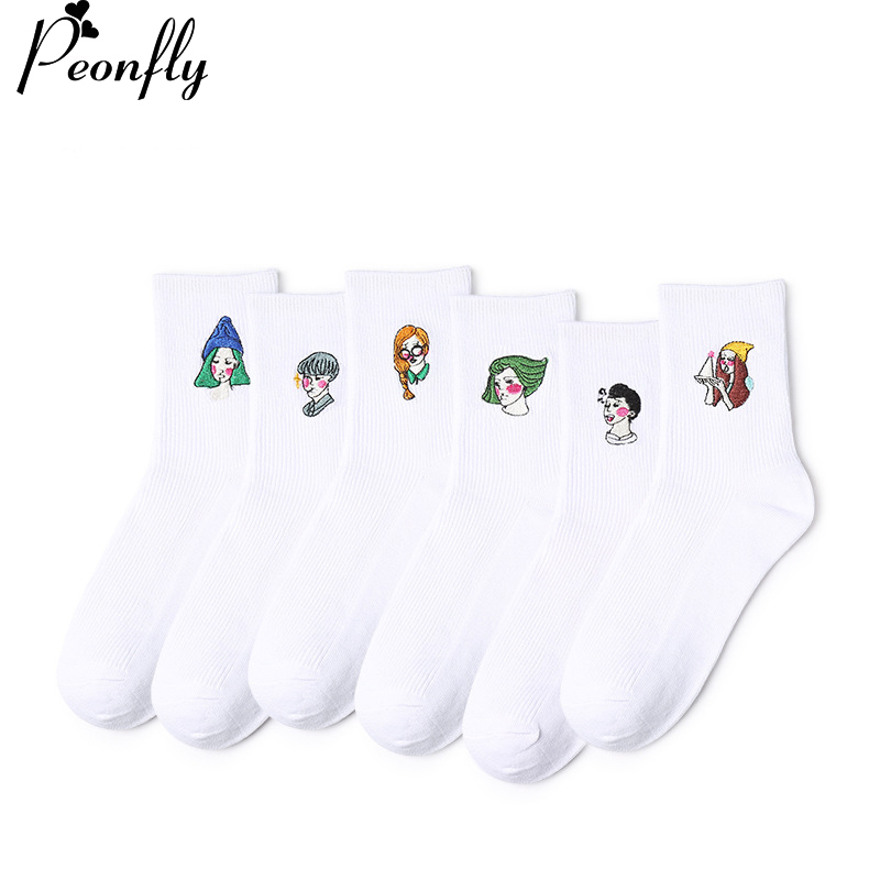 PEONFLY 6 Pairs/lot Women Embroidery Character portrait Patterns Cotton Winter Socks Cute Cartoon Sock Female Short Socks