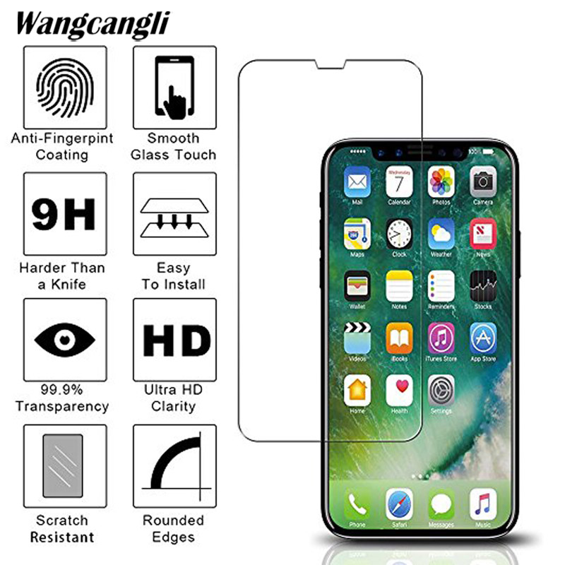 2.5D tempered glass for iphone 7 screen protector half screen protection for iphone 4  5 6 6s plus 7 7plus 8 8plus X glass film-in Phone Screen Protectors from Cellphones & Telecommunications