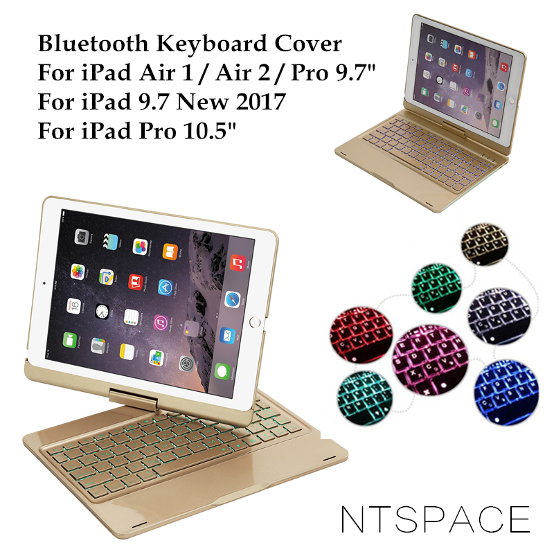 NTSPACE For iPad 5 / 6 / Air / Air 2 Backlit Light Aluminum Wireless Bluetooth Keyboard Case Cover For iPad Por 9.7 / 10.5 inch