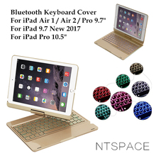 NTSPACE For iPad 5 / 6 / Air / Air 2 Backlit Light Aluminum Wireless Bluetooth Keyboard Case Cover For iPad Por 9.7 / 10.5 inch цена