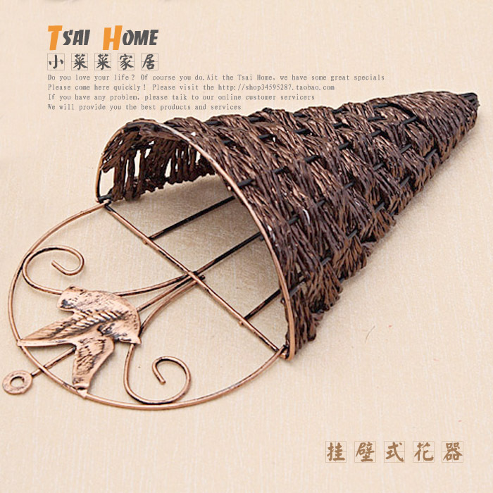 Aliexpress.com : Buy Vintage wall hanging rattan iron flower ...