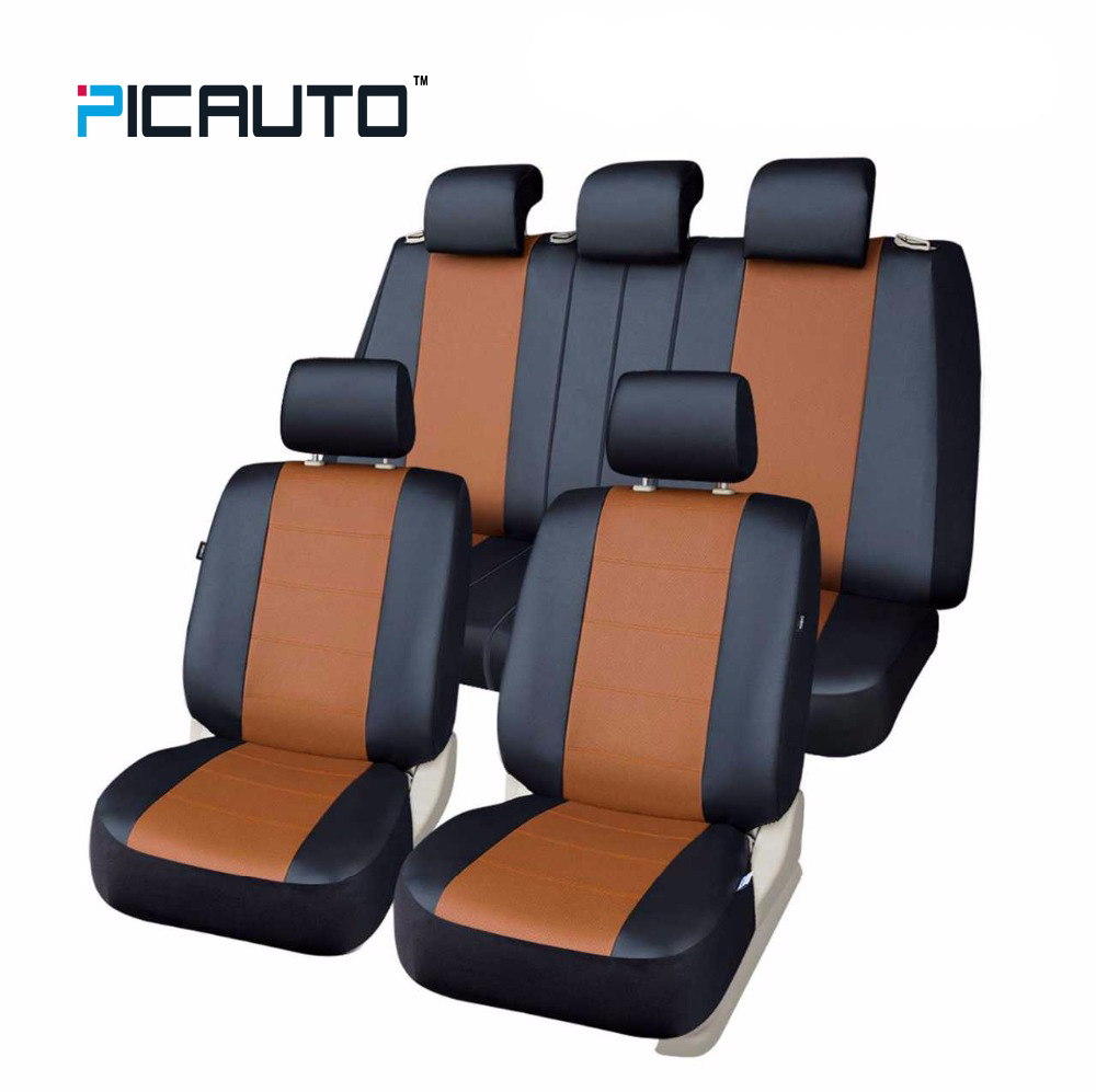PIC AUTO PU Leather Universal Car Seat Covers Full Set Seat Cover Car Interior Accessories 3D Splicing Technology Light Brown linen universal car seat cover for dacia sandero duster logan car seat cushion interior accessories automobiles seat covers