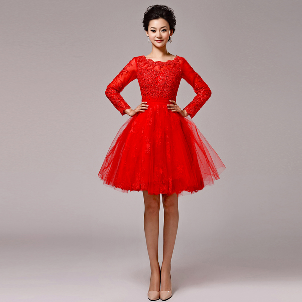 Aliexpress.com : Buy good quality 2016 ladies red short lace ball ...