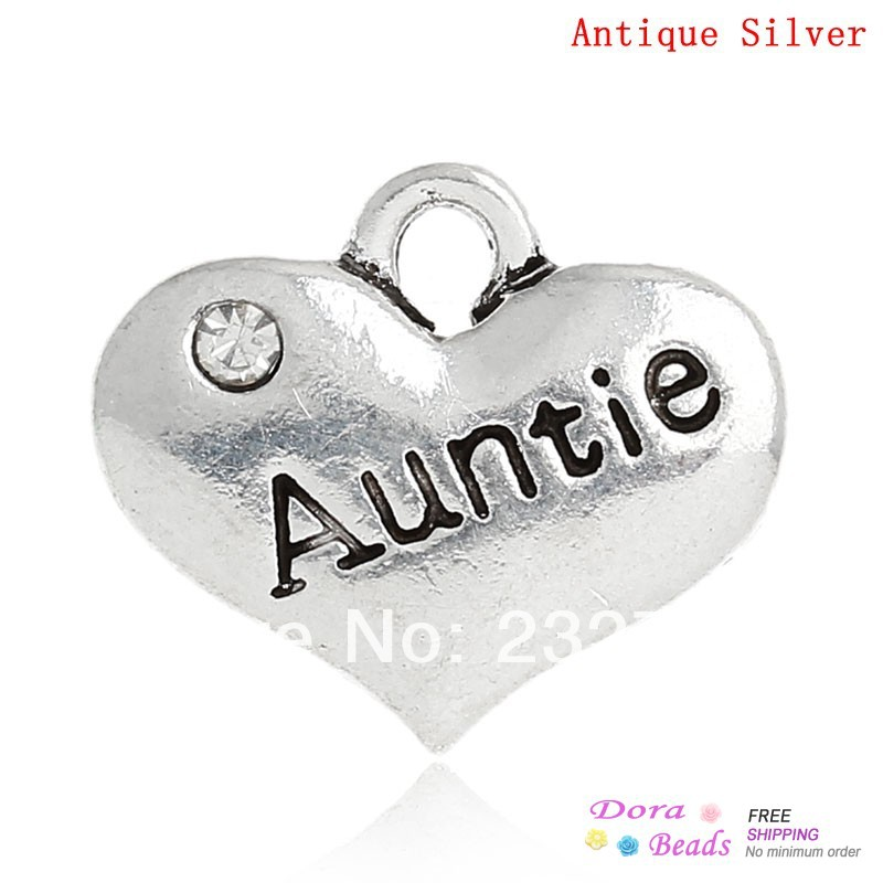 Charm Pendants Heart Antique Silver Auntie Message Carved Clear Rhinestone 16x14mm,20PCs (B32656)