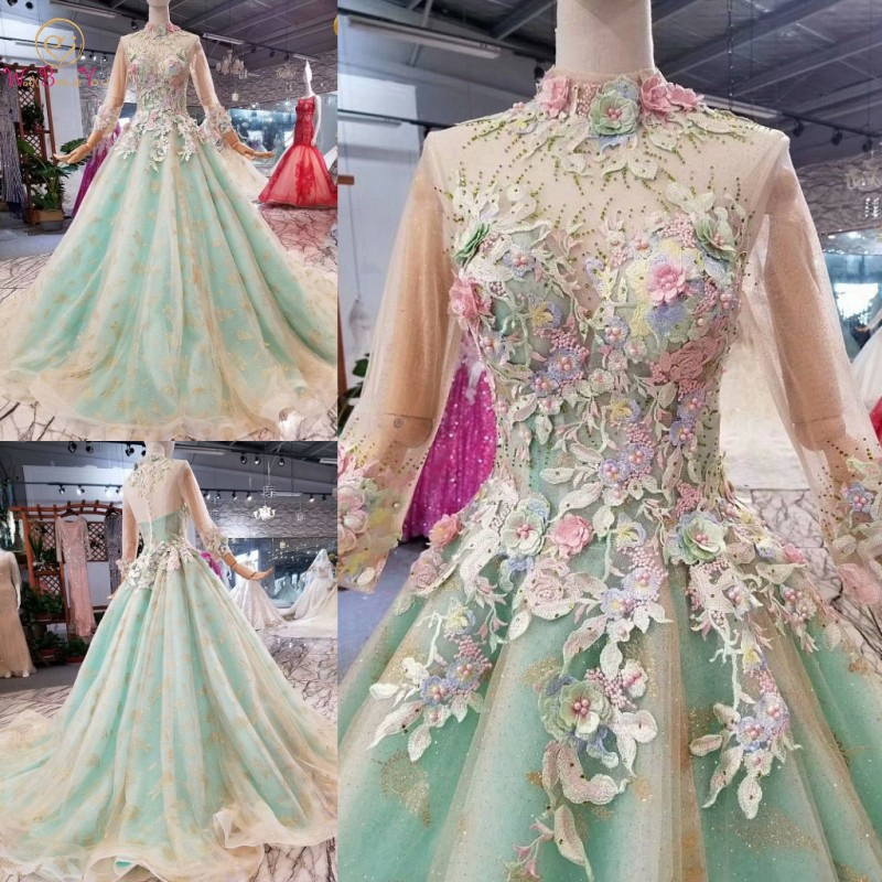 Flower Fairy   Prom     Dresses   Lace Appliques Champagne Green Contrast Colorful Long Sleeve Ball Gown High Neck Train Real Pictures