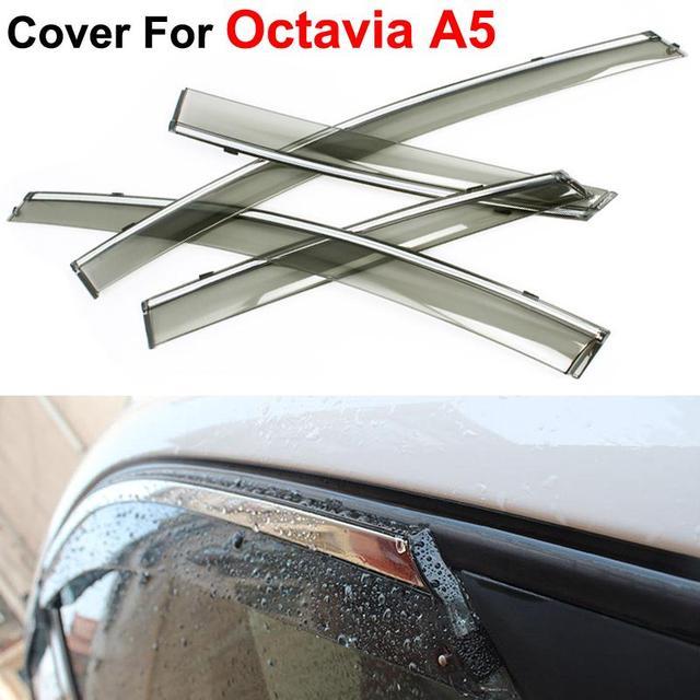 4pcs/lot Awning Shelters Vent Rain Sun Shield Window Visor For Skoda Octavia A5 Senda 2010 2011 2012 2013 Car Styling Guard