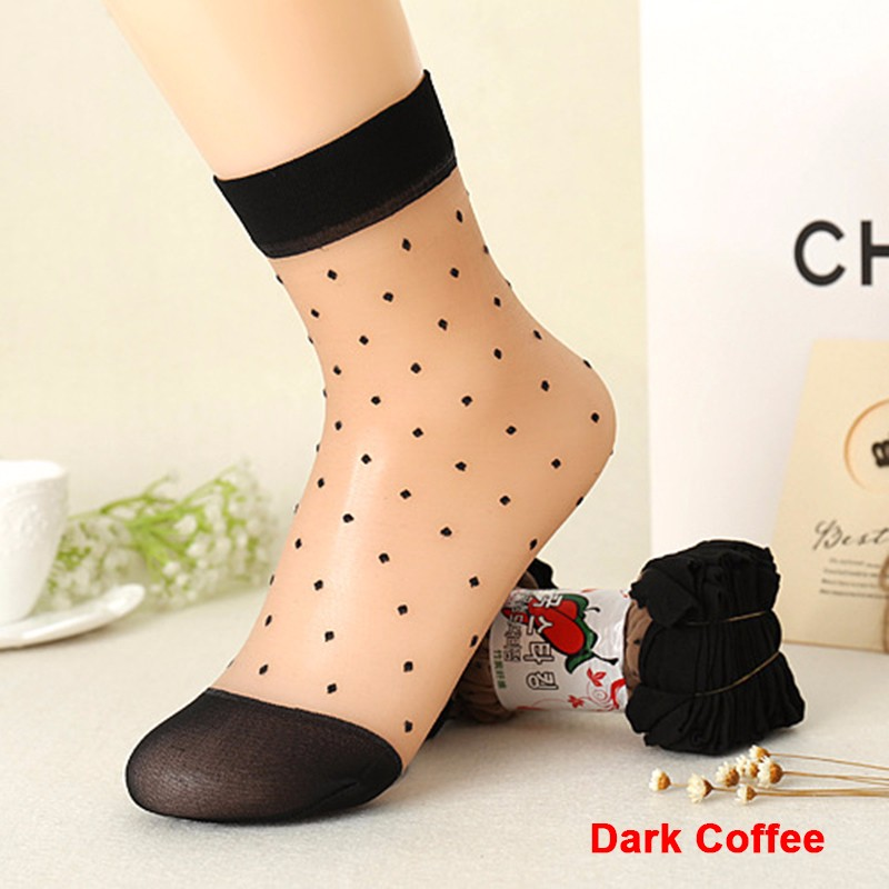 2016 Autumn Women Socks Crystal Silk Transparent Thin Socks Female Dot Candy Color Socks New Women's Clothing Wholesale 10 Pairs (11)