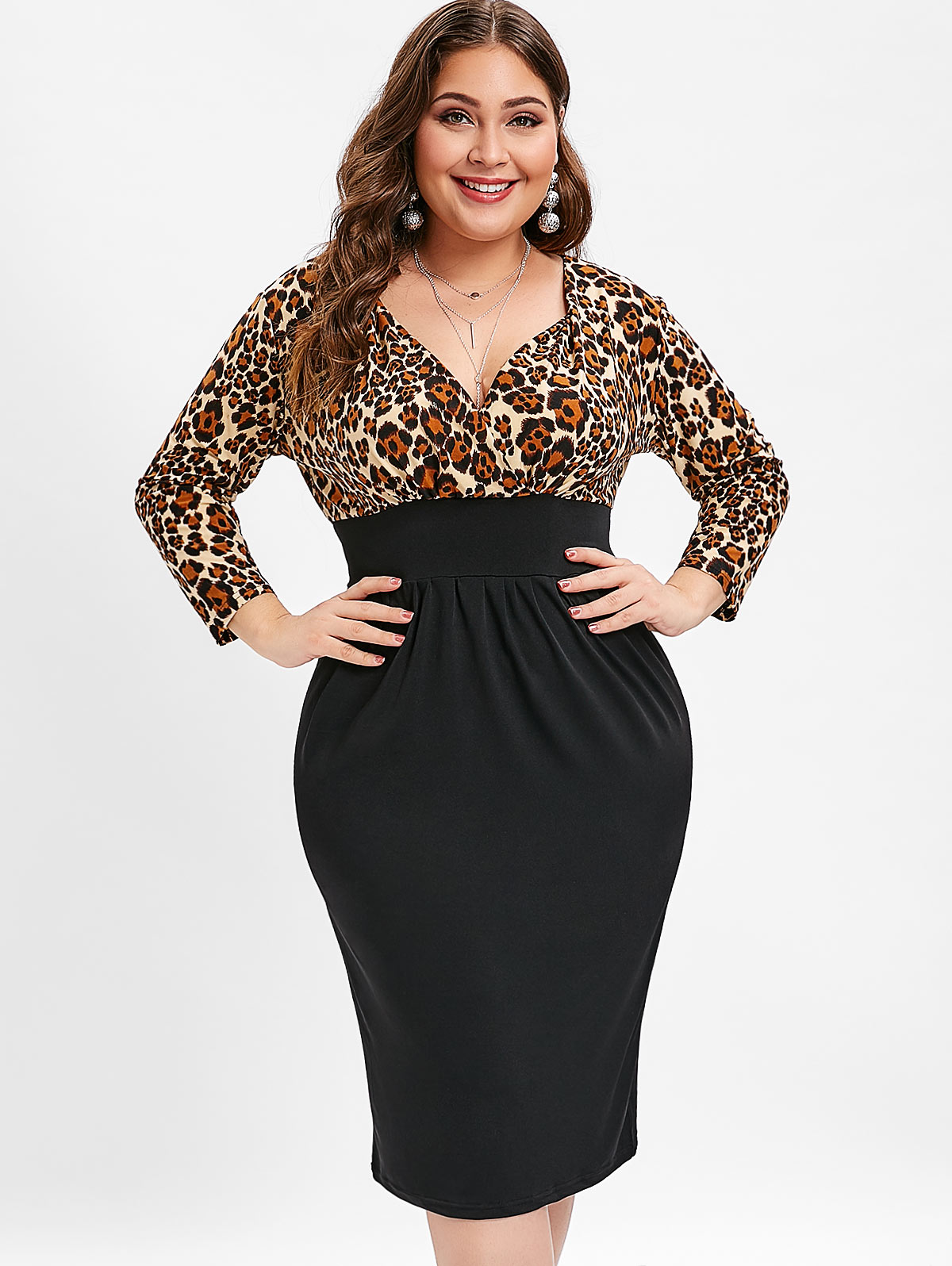893764b4f3a65 Wipalo Women Plus Size Leopard Print Plunging Neck Dress Long Sleeves  Knee-Length Bodycon Club Party Dress 5XL Spring Vestidos