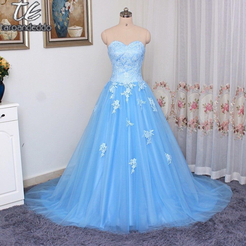 Милое ТРАПЕЦИЕВИДНОЕ ПЛАТЬЕ трапециевидной формы из голубого тюля и кружева для выпускного бала, длинное дизайнерское вечернее платье с ко...
