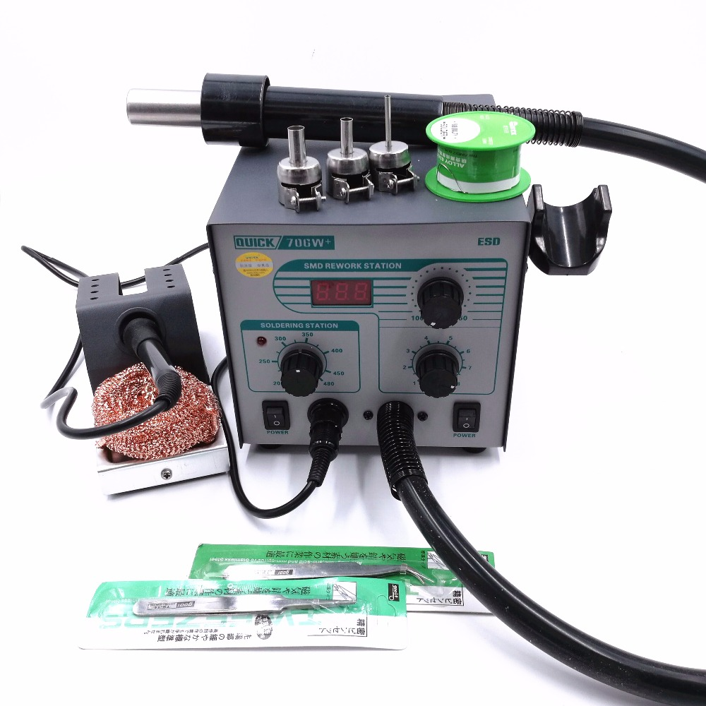 QUICK 706W  Digital Display Hot Air Gun   Soldering Iron Anti-static Lead-free Rework Station 2 IN 1 With 3 Nozzles   Tin Wire
