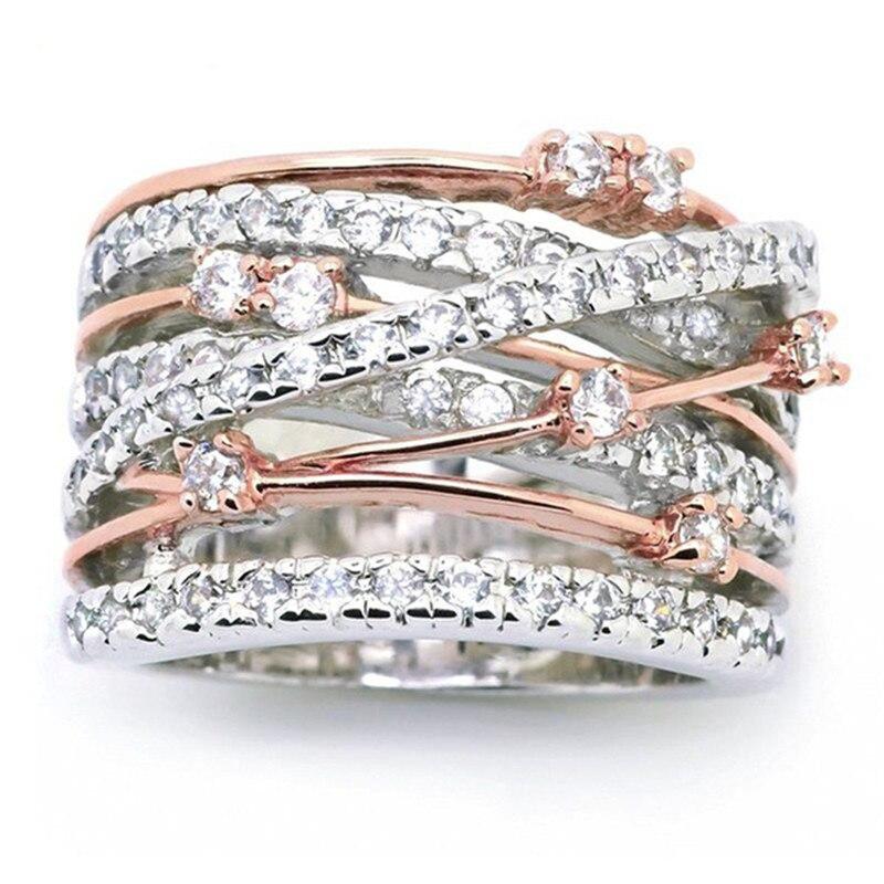 Anillos cruzados de anillos anchos de moda para mujeres anillo de circón de oro rosa plata multicapa anillo dedo joyas joyería tamaño 5-12 bague