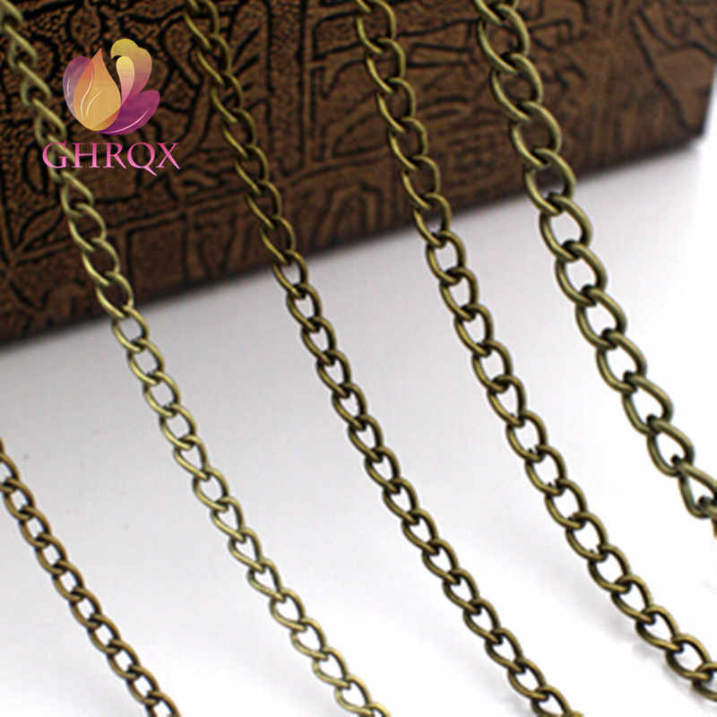 GHRQX HOT 2m 06 (2mm) złoty/Sliver/łańcuch z brązu naszyjnik łańcuszek do tworzenia biżuterii DIY materiał ustalenia