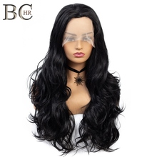 BCHR Long Wave Synthetic 13*4 Lace Front Wig for Women Natural black Wi