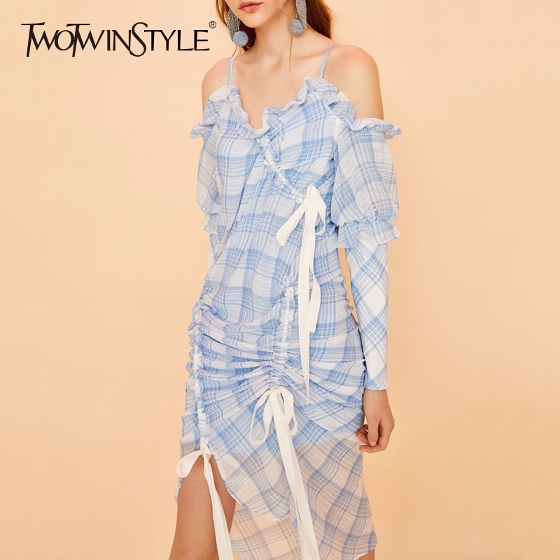 TWOTWINSTYLE Plaid Dress For Women Off Shoulder V Neck Long Sleeve Draw String Bow Asymmetrical Long Dresses 2018 Summer Sweet