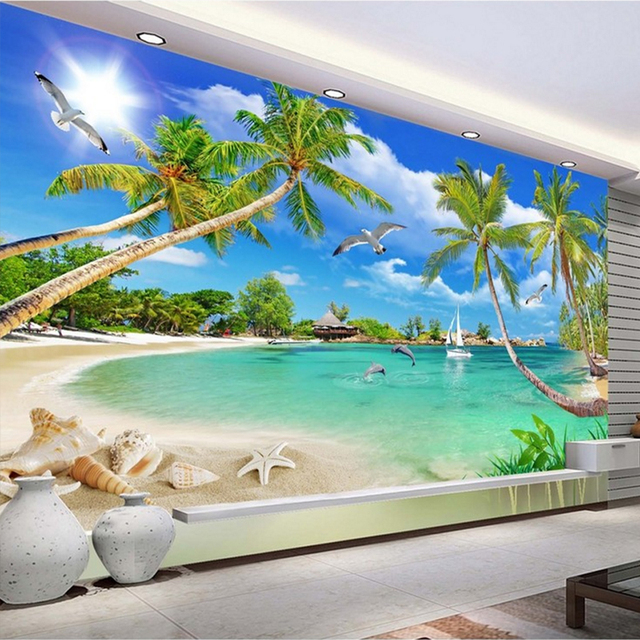 custom 3 d photo wallpaper wall murals 3D wallpaper Beach tree waves lawn path seagulls custom 3d wallpaper Home Decor