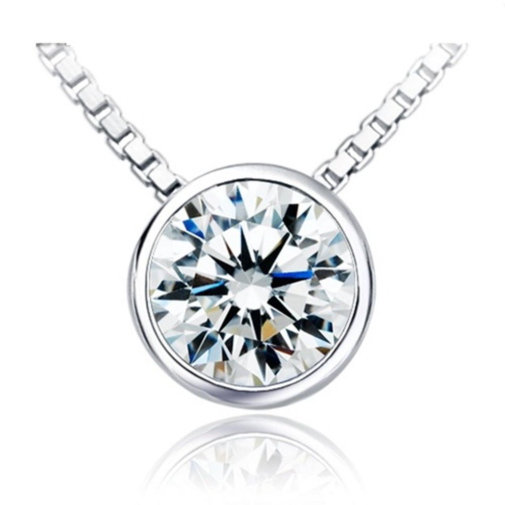 Excellent Brilliant Round 2CT Real Diamond Engagement Solitaire Pendant Necklace Bridal Free 40cm 925 Necklace
