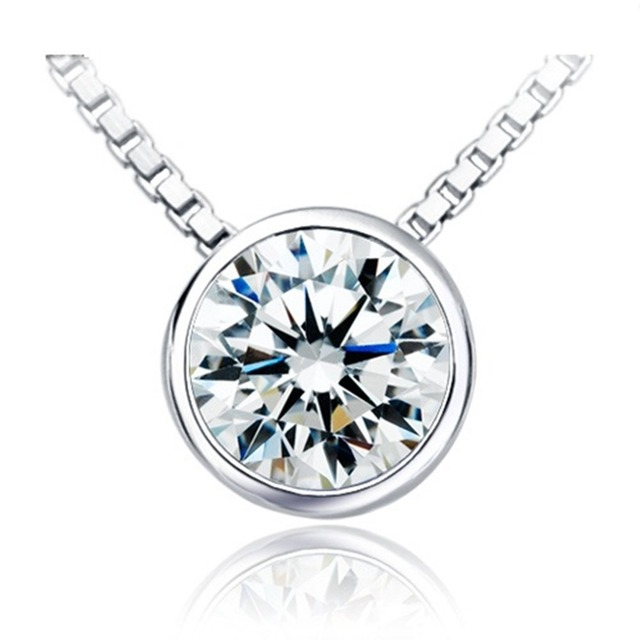 Excellent brilliant round 2ct real diamond engagement solitaire excellent brilliant round 2ct real diamond engagement solitaire pendant necklace bridal free 40cm 925 necklace mozeypictures Gallery