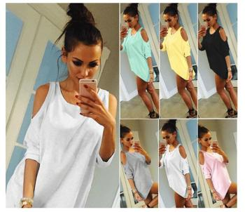 Summer Women T-Shirt O-Neck Solid Color Off Shoulder Sexy Long T Shirt Casual Loose Top Tees Plus Size 5XL sexy off shoulder tshirt women summer t shirt solid color hollow out short sleeve loose casual tees tops plus size streetwear