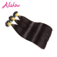 Alishow Keratin Hair Extension 20inch 1g Strands Indian Hair Remy U Tip Human Hair Extension Silky