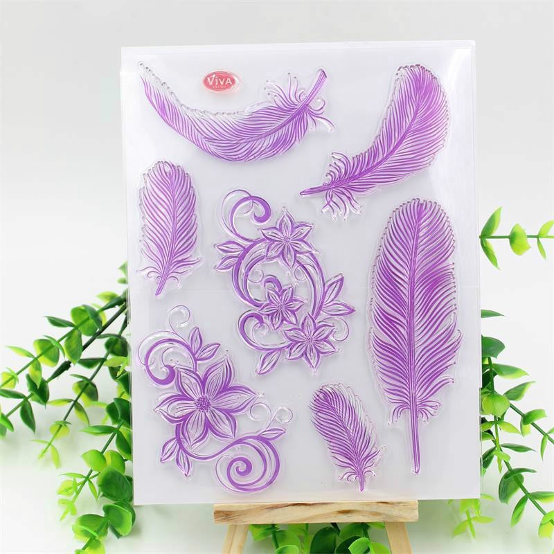 Feather Transparent Clear Silicone Stamps for DIY ScrapbookingCard MakingKids Christmas Fun Decoration Supplies