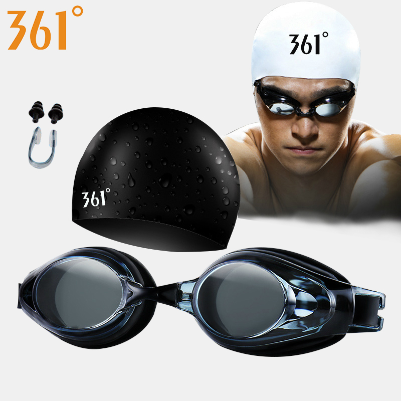 361 Optical Swimming Goggles Myopia Swim Glasses Swimming Cap Set for Pool Prescription Glasses Diopter Anti