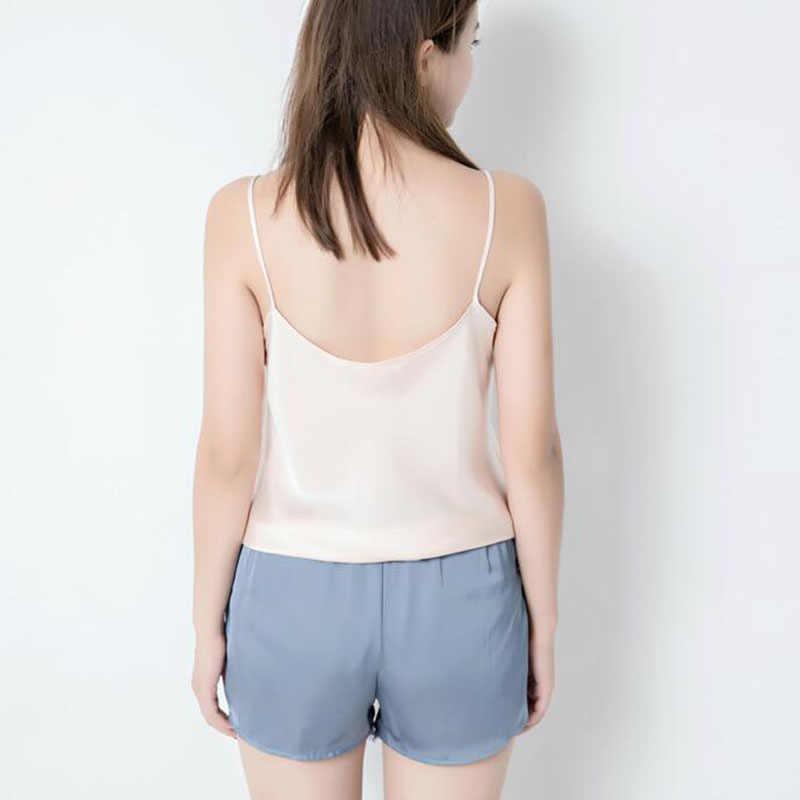 Mulher mancha faux seda segurança calças curtas rendas cintura elástica respirável cueca fina suave casual 223-276