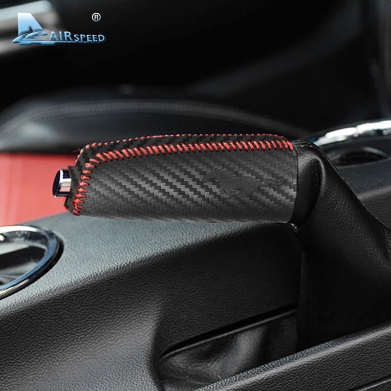 Airspeed Split Leather Handbrake Covers For Ford Mustang 2015-17 Carbon Fiber Looking Car Handbrake Grips Sleeve Car Accessories