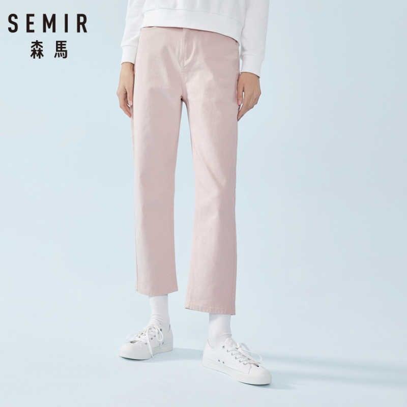 SEMIR Frauen Gerade Fit Jeans Baumwolle Mischung frauen Cropped Hosen Fashion Ankle-Länge Hosen mit Tasche auf der Rückseite für Frühling