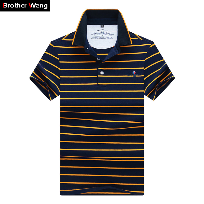 Brother Wang Brand 2019 Summer New Men's Striped   POLO   Shirt Fashion Business Casual 95% Cotton Short Sleeve   Polo   Shirt Tops