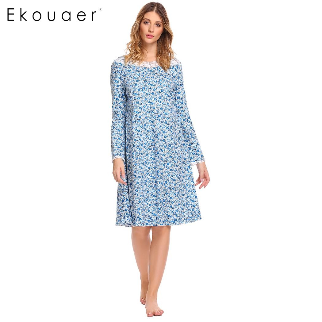 Ekouaer Nightgown Women Cotton Sleep Wear Casual Irregular Collar Long Sleeve A-Line Ruffle Hem Lace Prints Home Sleepwear